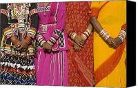 Four Women Canvas Prints - Detail Of Hands Four Women In Saris Canvas Print by Axiom Photographic