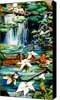 Waterfall Tapestries - Textiles Canvas Prints - Detail of Spring Canvas Print by Kimberly Simon
