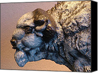 Bison Sculpture Canvas Prints - Detail of Territorial Dispute Canvas Print by Peggy Detmers
