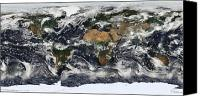 Equirectangular Canvas Prints - Detailed Satellite View Of Earth Canvas Print by Stocktrek Images