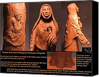 Tree Sculpture Canvas Prints - Details of Symbols on Saint Rose Philippine Duchesne Sculpture. Canvas Print by Adam Long