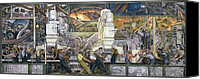 Work Canvas Prints - Detroit Industry   North Wall Canvas Print by Diego Rivera