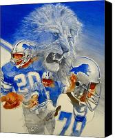 Magazine Cover Mixed Media Canvas Prints - Detroit Lions Game Day Cover Canvas Print by Cliff Spohn