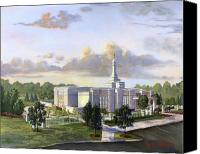 Mormon Painting Canvas Prints - Detroit Michigan Temple Canvas Print by Jeff Brimley
