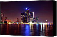 Windsor Canvas Prints - Detroit Skyline 4 Canvas Print by Gordon Dean II
