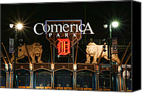 Stadium Digital Art Canvas Prints - Detroit Tigers - Comerica Park Canvas Print by Gordon Dean II