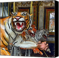 Detroit Tigers Canvas Prints - Detroit Tigers Carousel Canvas Print by Michelle Calkins