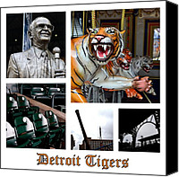 Detroit Tigers Canvas Prints - Detroit Tigers Collage Canvas Print by Michelle Calkins