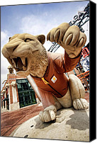 Detroit Tigers Canvas Prints - Detroit Tigers Tiger statue outside of Comerica Park Detroit Michigan Canvas Print by Gordon Dean II
