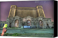 Boogie Canvas Prints - Detroits Abandoned Train Station Canvas Print by Nicholas  Grunas