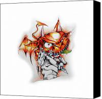 Devil Mixed Media Canvas Prints - Devil tattooist Canvas Print by Brian Gibbs