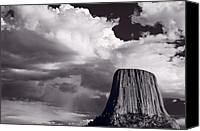 National Monument Canvas Prints - Devils Tower Wyoming BW Canvas Print by Steve Gadomski