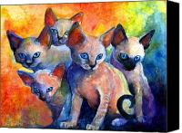 Colorful Drawings Canvas Prints - Devon Rex kittens Canvas Print by Svetlana Novikova