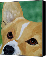 Devotion Canvas Prints - Devotion-Corgi Eyes of Love Canvas Print by Debbie LaFrance