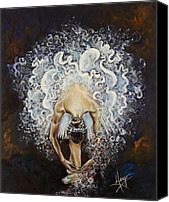 Figurative Canvas Prints - Devotion Canvas Print by Karina Llergo Salto