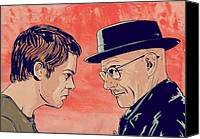 White Drawings Canvas Prints - Dexter and Walter Canvas Print by Giuseppe Cristiano