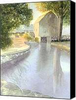 Cape Cod Canvas Prints - Dexter Grist Mill Reflections Canvas Print by Joseph Gallant