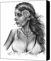 Graphite Canvas Prints - Dia De Los Muertos 1 Canvas Print by Pete Tapang
