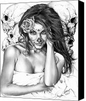 Woman Painting Canvas Prints - Dia De Los Muertos 2 Canvas Print by Pete Tapang