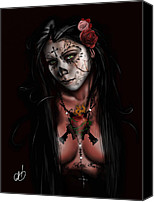 White Drawings Canvas Prints - Dia De Los Muertos 3 Canvas Print by Pete Tapang