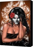 Pin-up Painting Canvas Prints - Dia de los Muertos Remix Canvas Print by Pete Tapang