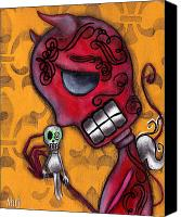 Sugar Skull Painting Canvas Prints - Diablito Canvas Print by  Abril Andrade Griffith
