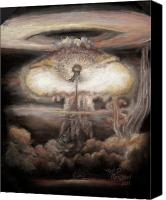 Mushroom Pastels Canvas Prints - Dialectic Destruction is Creation Canvas Print by Dennis Jones
