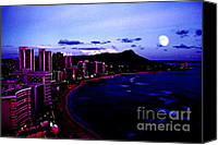 Oahu Digital Art Canvas Prints - Diamond Head Moonrise Canvas Print by Thomas R Fletcher