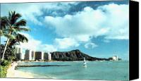 Oahu Digital Art Canvas Prints - Diamond Head Canvas Print by Will Borden
