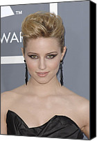 Dangly Earrings Canvas Prints - Dianna Agron At Arrivals For The 53rd Canvas Print by Everett