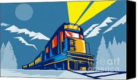 Illustration Canvas Prints - Diesel train winter Canvas Print by Aloysius Patrimonio
