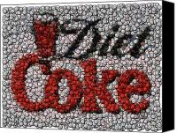Bottle Caps Canvas Prints - Diet Coke Bottle Cap Mosaic Canvas Print by Paul Van Scott