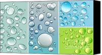 Circle Digital Art Canvas Prints - Different size droplets on colored surface Canvas Print by Sandra Cunningham