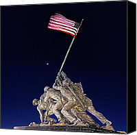 Flag Digital Art Canvas Prints - Digital Drawing - Iwo Jima Memorial at Dusk Canvas Print by Metro DC Photography