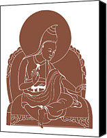 Tibetan Buddhism Canvas Prints - Digital Illustration Of 8th Century Buddhist Monk Padmasambhava Canvas Print by Dorling Kindersley