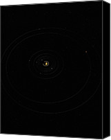 No People Digital Art Canvas Prints - Digital Illustration Of Saturn And Its Moons Canvas Print by Jason Reed