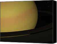 Astronomy Canvas Prints - Digital Illustration Of Saturn And Its Rings Canvas Print by Chad Baker