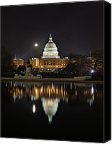 Pool Canvas Prints - Digital Liquid - Full Moon at the US Capitol Canvas Print by Metro DC Photography