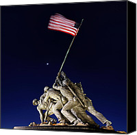 Flag Digital Art Canvas Prints - Digital Liquid - Iwo Jima Memorial at Dusk Canvas Print by Metro DC Photography