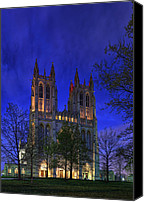 Building Digital Art Canvas Prints - Digital Liquid - Washington National Cathedral After Sunset Canvas Print by Metro DC Photography