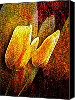 Ornamental Digital Art Canvas Prints - Digital Tulips Canvas Print by Svetlana Sewell