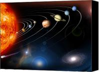 Outer Space Canvas Prints - Digitally Generated Image Of Our Solar Canvas Print by Stocktrek Images