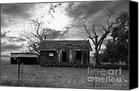 Farm Houses Canvas Prints - Dilapidated Old Farm House . 7D10341 . black and white Canvas Print by Wingsdomain Art and Photography