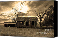 Farm Houses Canvas Prints - Dilapidated Old Farm House . 7D10341 . sepia Canvas Print by Wingsdomain Art and Photography