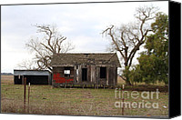 Old Houses Canvas Prints - Dilapidated Old Farm House . 7D10341 Canvas Print by Wingsdomain Art and Photography