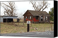 Farm Houses Canvas Prints - Dilapidated Old Farm House . No Trespassing . No Hunting . 7D10335 Canvas Print by Wingsdomain Art and Photography