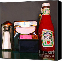 Shaker Canvas Prints - Diner Table Condiments and Other Items - 5D18035- Painterly Canvas Print by Wingsdomain Art and Photography