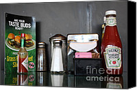 Diners Canvas Prints - Diner Table Condiments and Other Items - 5D18035 Canvas Print by Wingsdomain Art and Photography