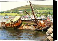 Long Pyrography Canvas Prints - Dingle Ireland Wreck Canvas Print by Jonathan Galente