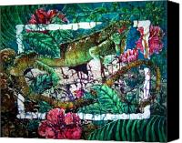 Flora Tapestries - Textiles Canvas Prints - Dining at the Hibiscus Cafe - Iguana Canvas Print by Sue Duda